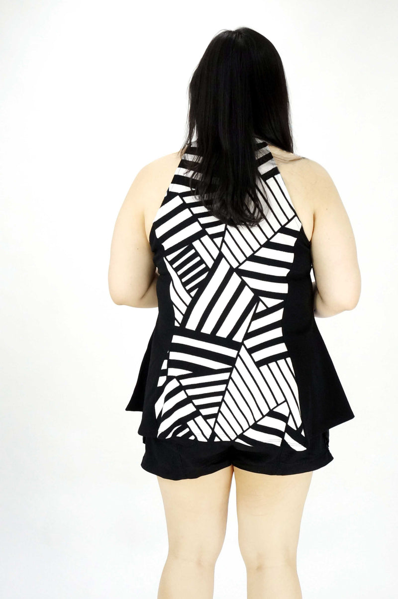 Sleeveless Strips Print Peplum Top
