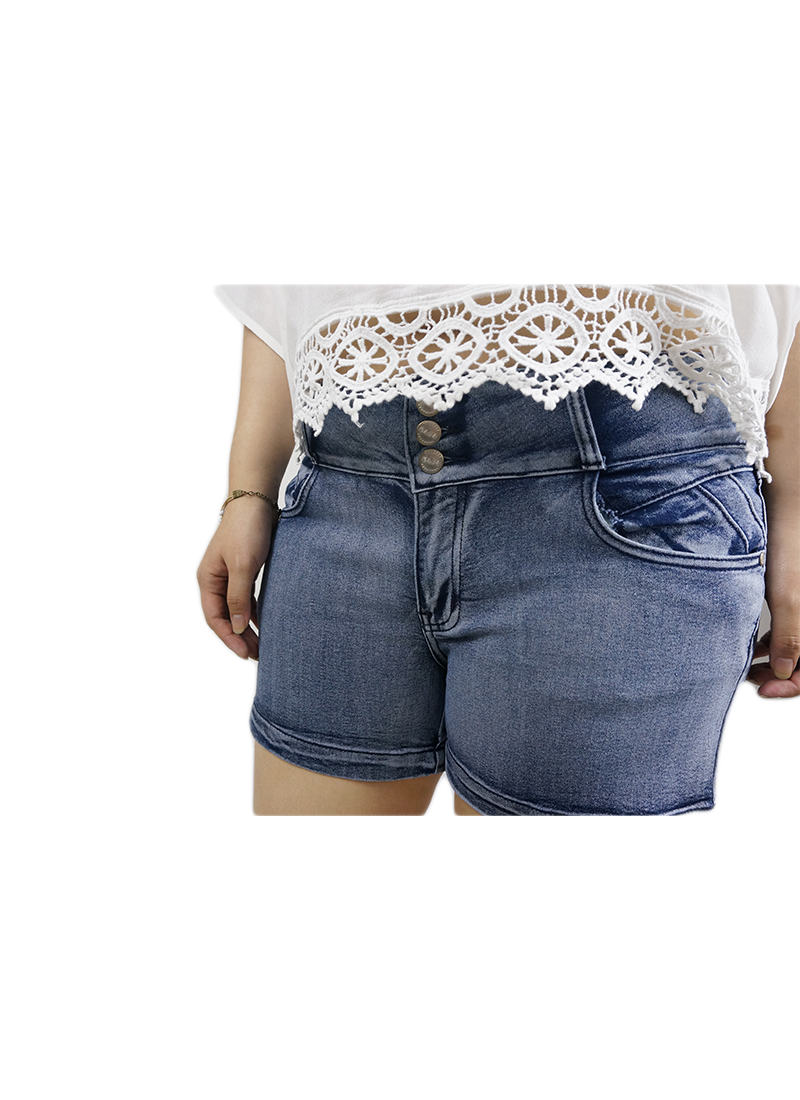 Triple Button Denim Blue Shorts