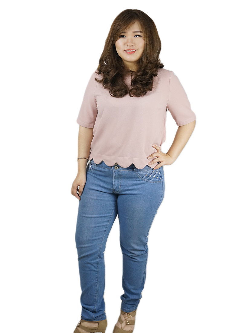 Ladies Plus size light denim jeans in singapore