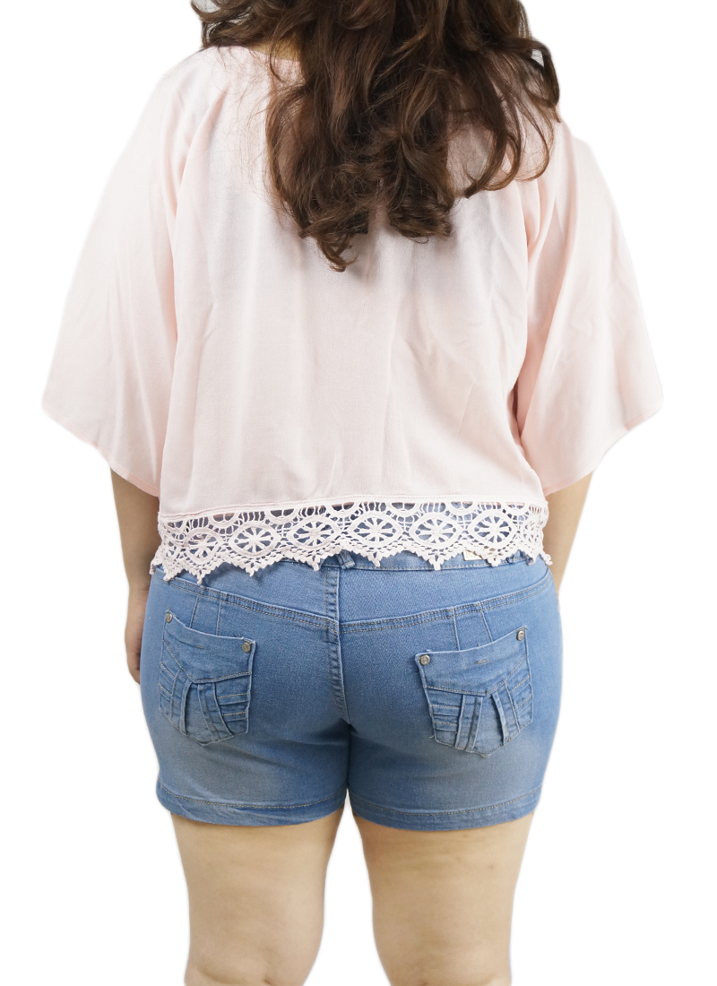 Triple Button Faded Wash Light Denim Shorts