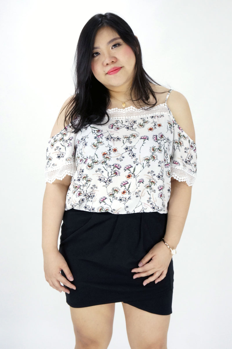 White Floral Print Cold Shoulder Top