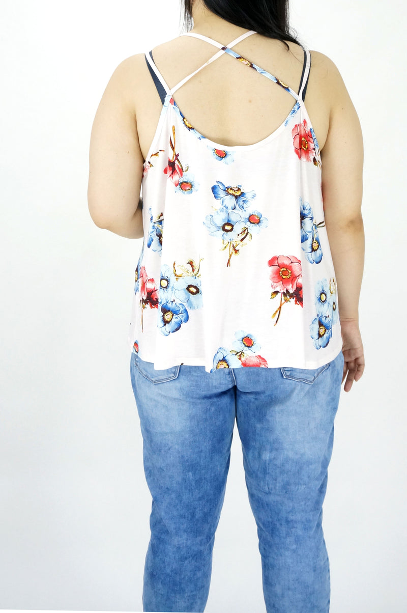 Sleeveless Floral Printed V-Neck Top