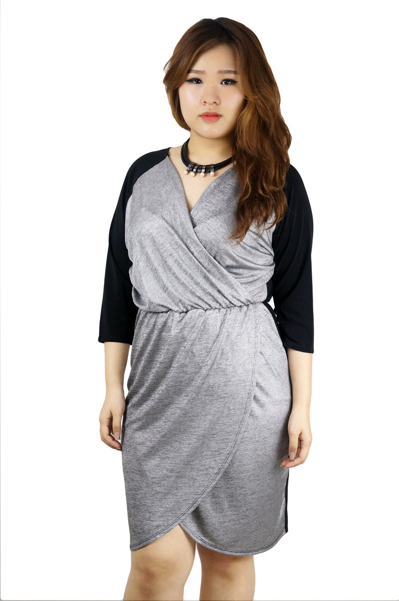 Tulip Hem Metallic Black Dress