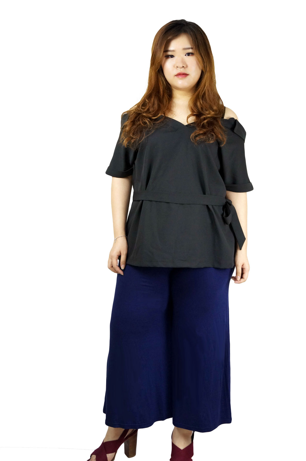 Wide Leg Drawstring Blue Pants