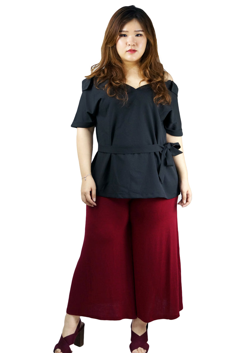Wide Leg Drawstring Wine Red Pants
