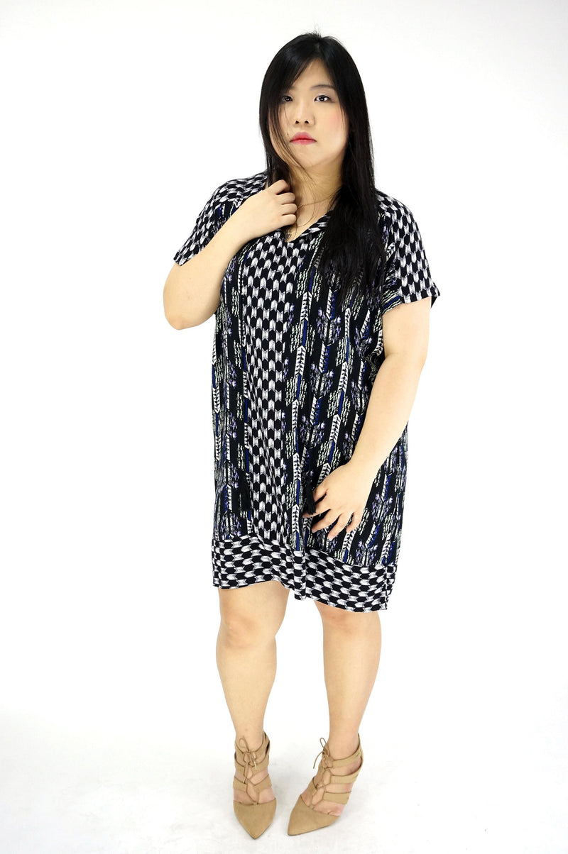 Yolk Tie Front Tunic Printed Dress