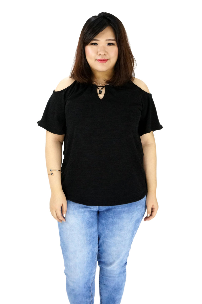 Cutouts Shoulder Black Top