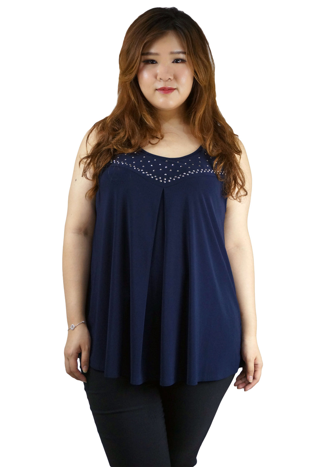 Sleeveless Navy Hot Pix Front Top