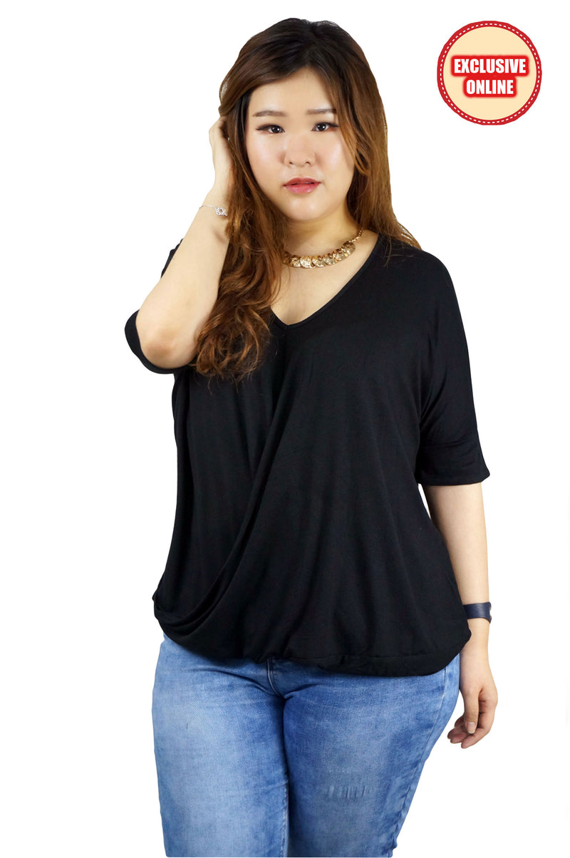V-Neck Short Sleeve Black Top