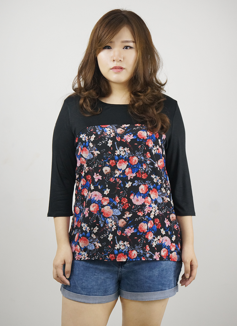 plus size black flora top
