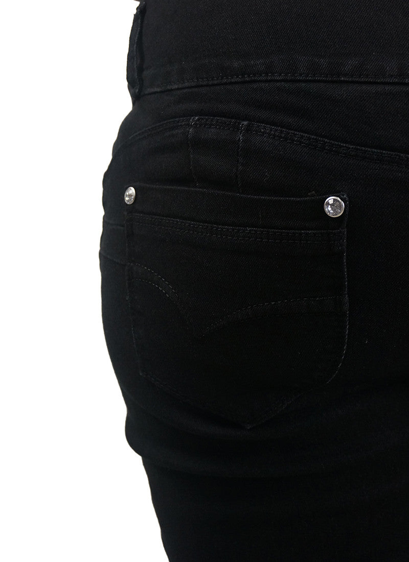 Triple Button Black Jeans