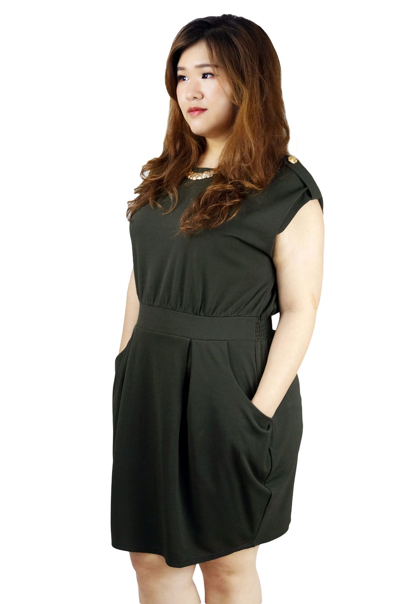 Dark Olive Cap Sleeves Dress