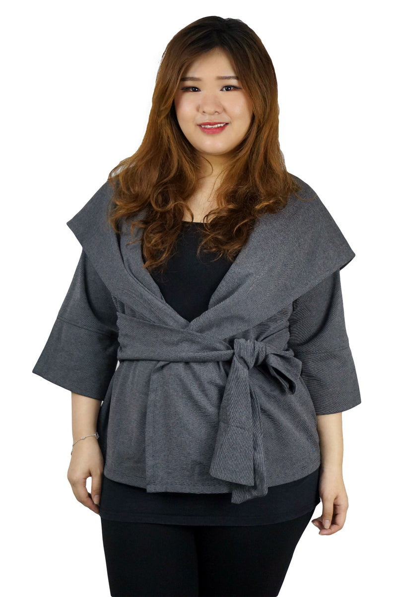 Drape Collar Belted Charcoal Jacket