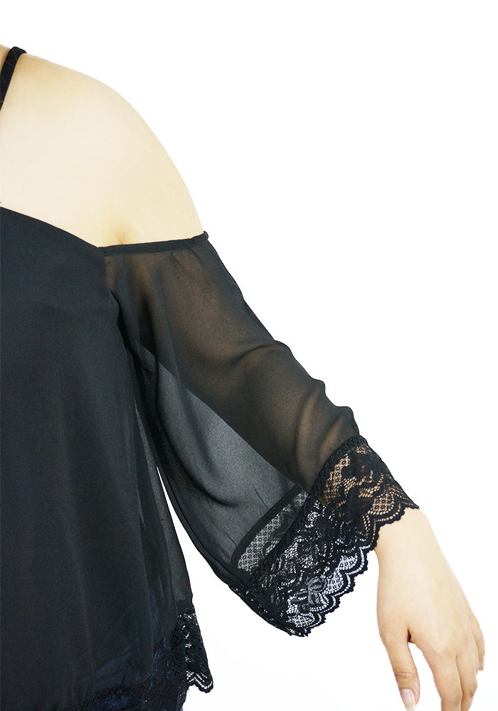 Chiffon Lace Fusion Black Top