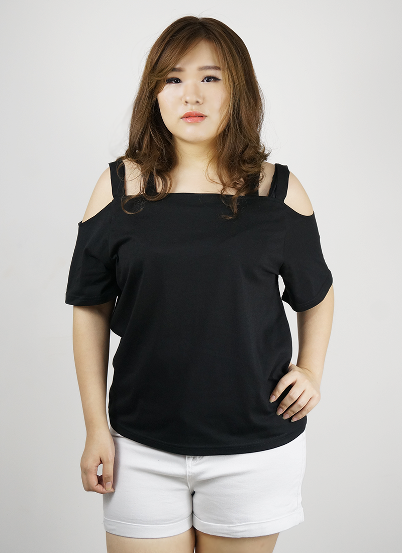 ladies plus size cold shoulder top