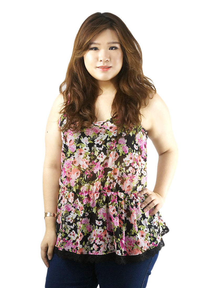 Black Pink Flora with Lace Hem Spaghetti Top