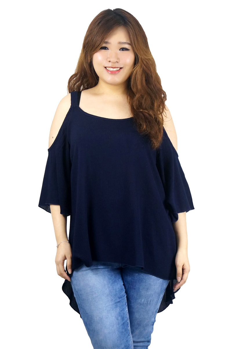 Flutter Sleeve Open Shoulder Navy Tunic Top