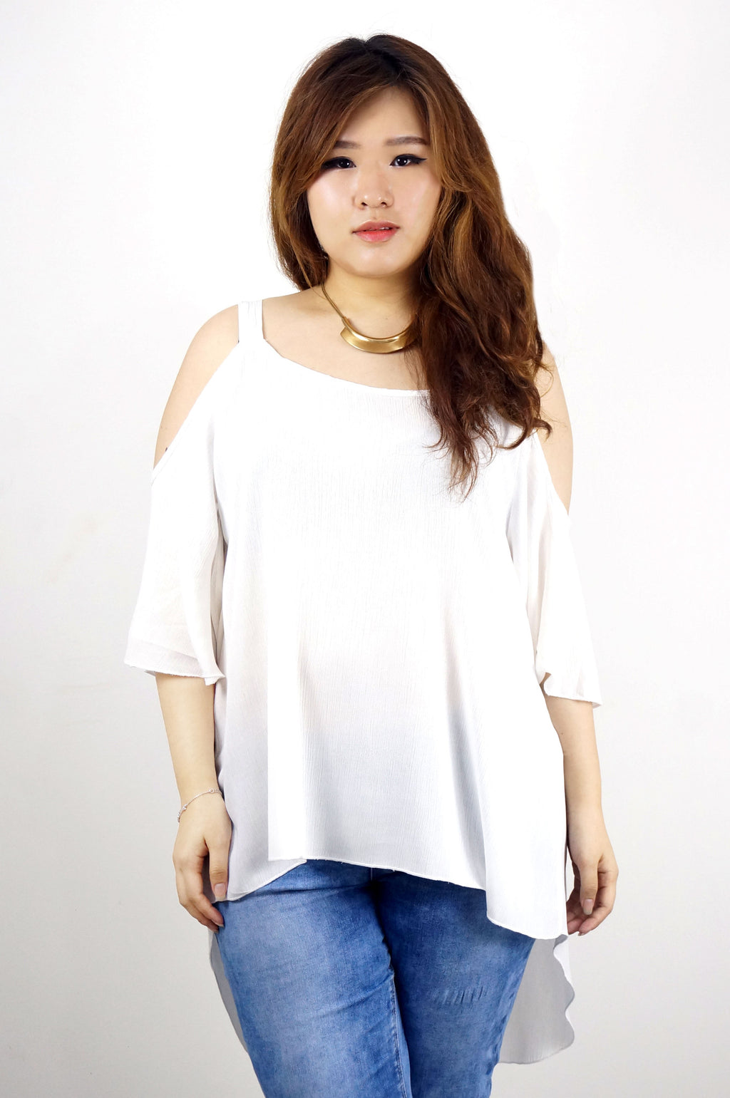 Flutter Sleeve Open Shoulder White Tunic Top