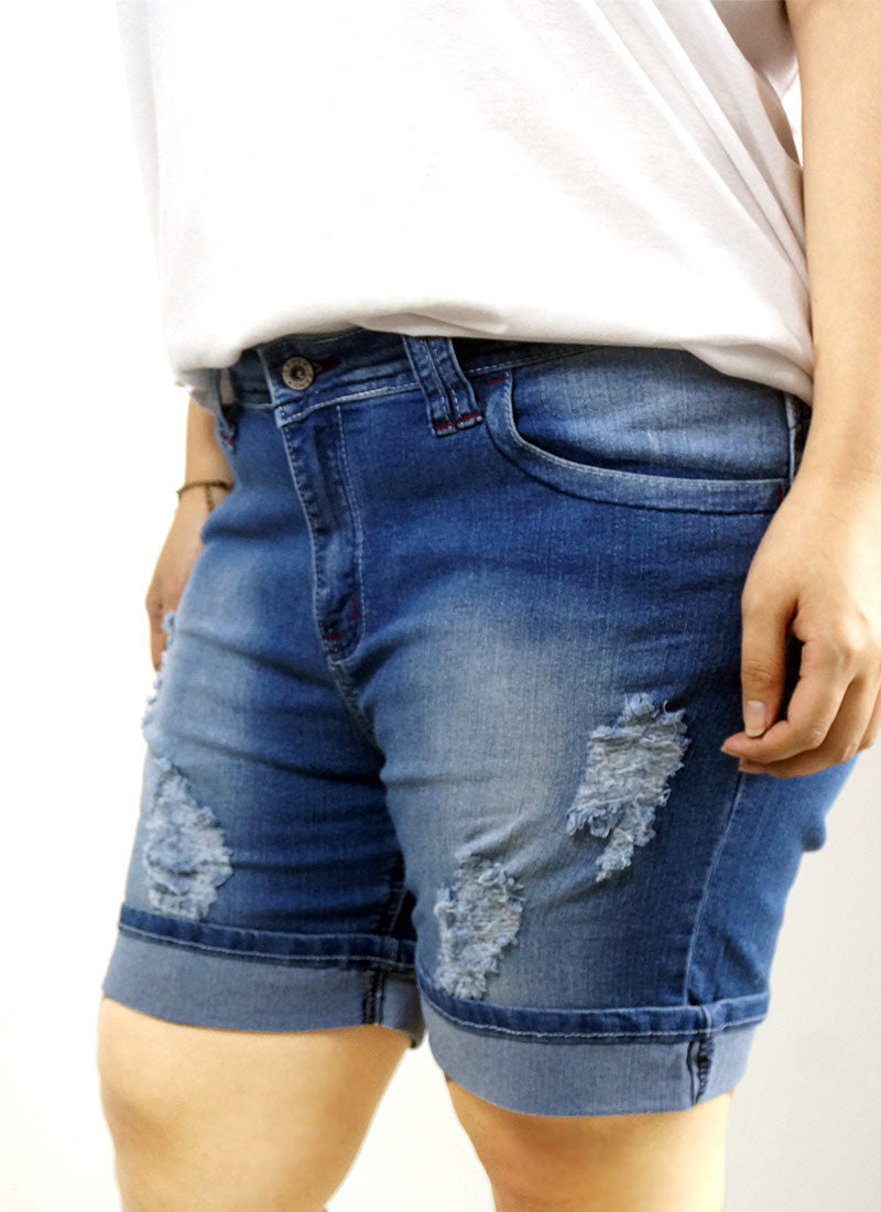 Indigo Washed Denim Shorts