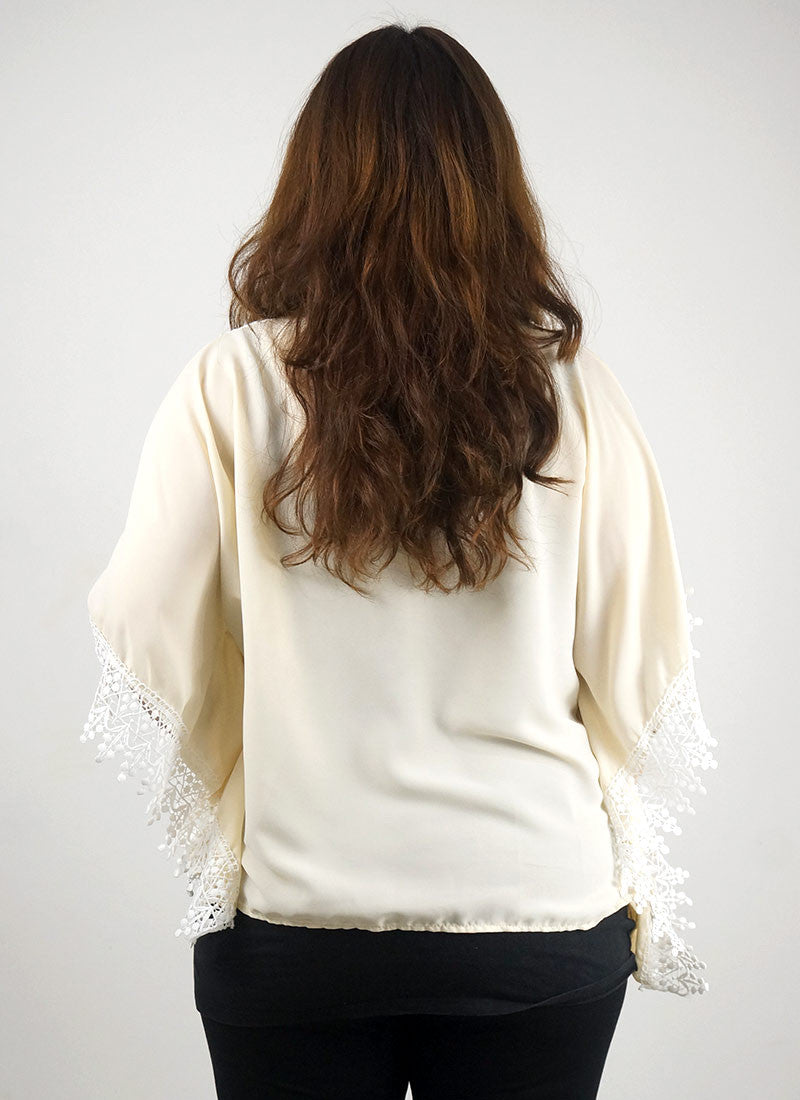 Crochet Trim Cream White Kimono Top