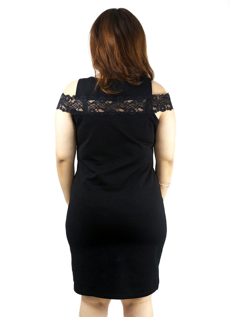 Lace Off Shoulder Bodycon Mini Black Dress