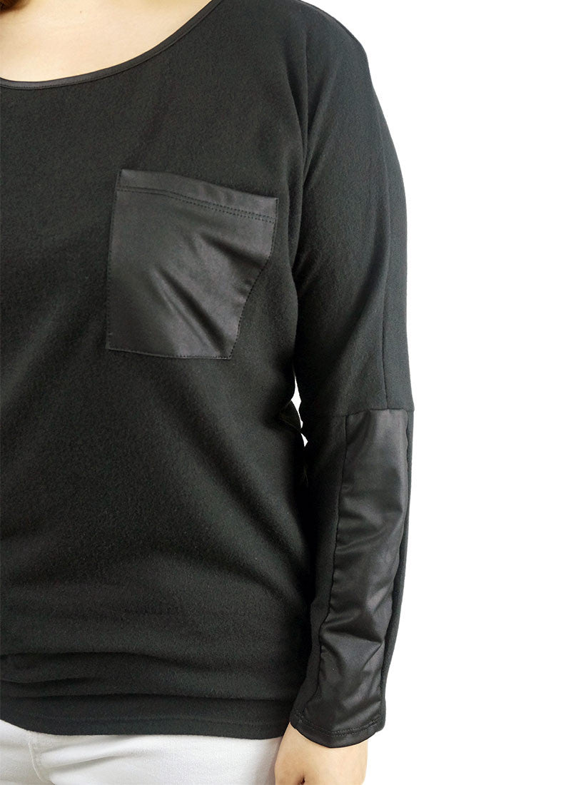 Leather Long Sleeve and Pocket Top
