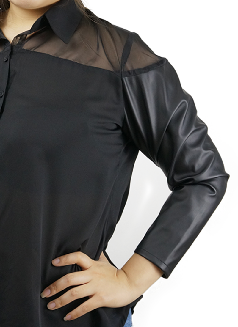 Black Top With Leather Sleeves