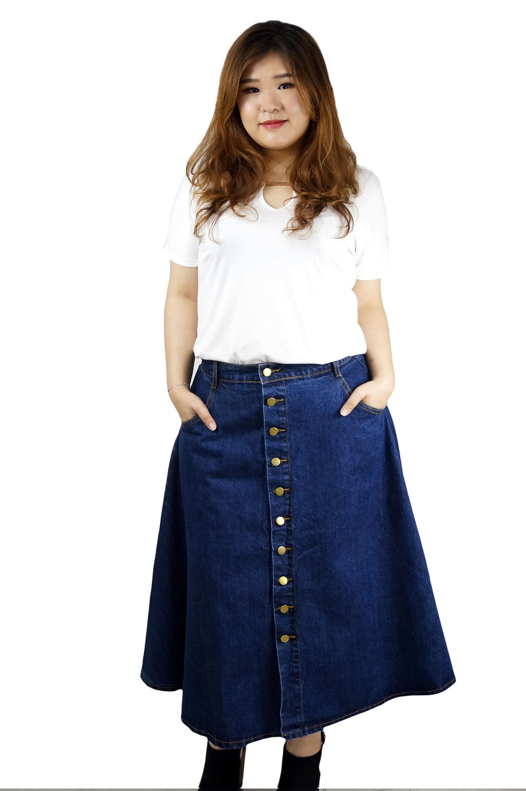 High Waist Denim Button Down Skirt