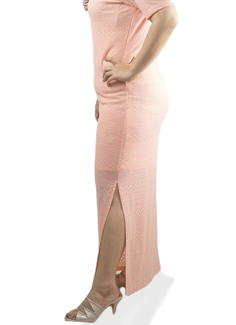 Maxi Lace Peach Dress
