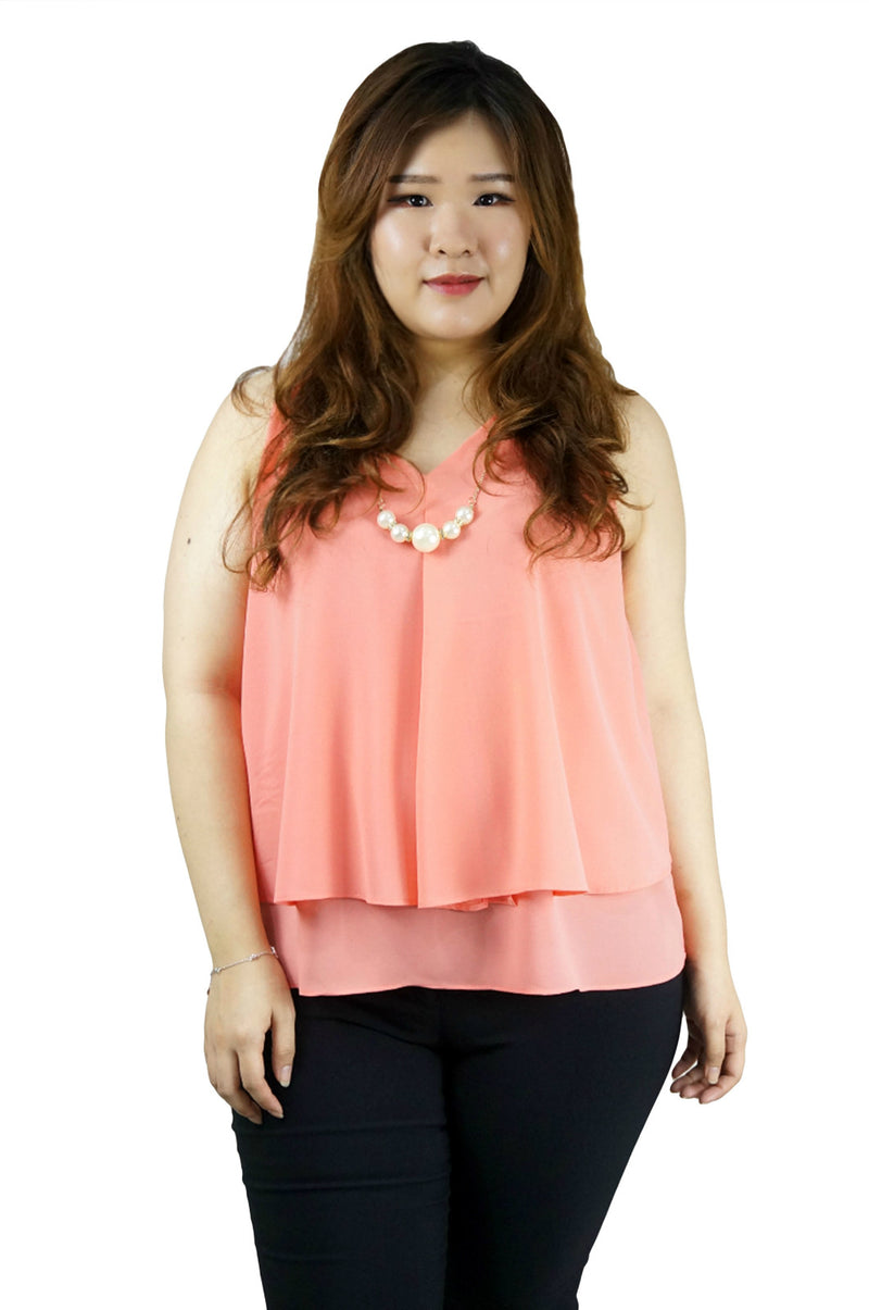 Peach Sleeveless Chiffon Top