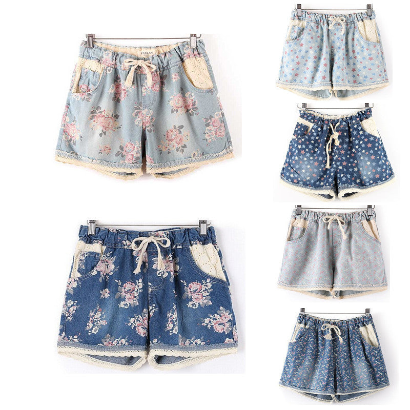 Elastic High Waist Floral/Star Printed Shorts
