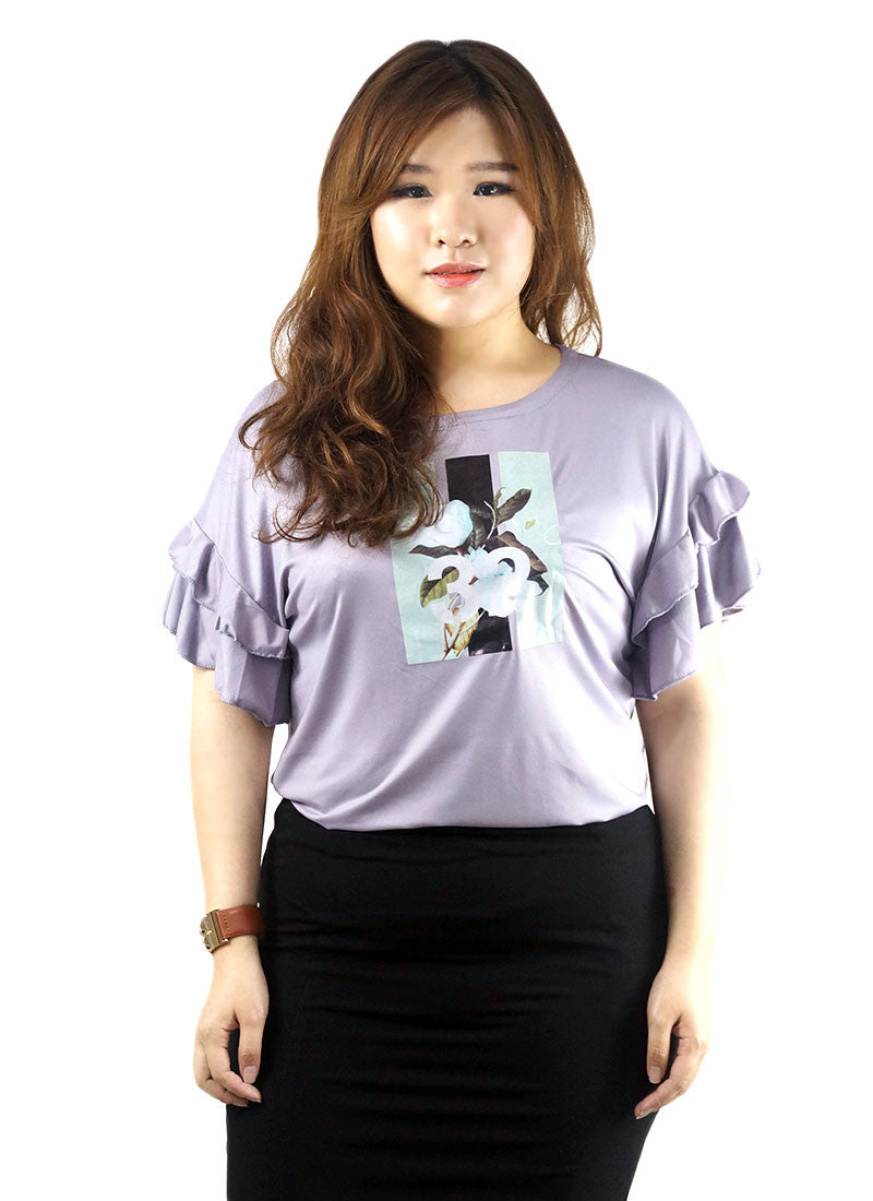 Flower Printed Purple Top