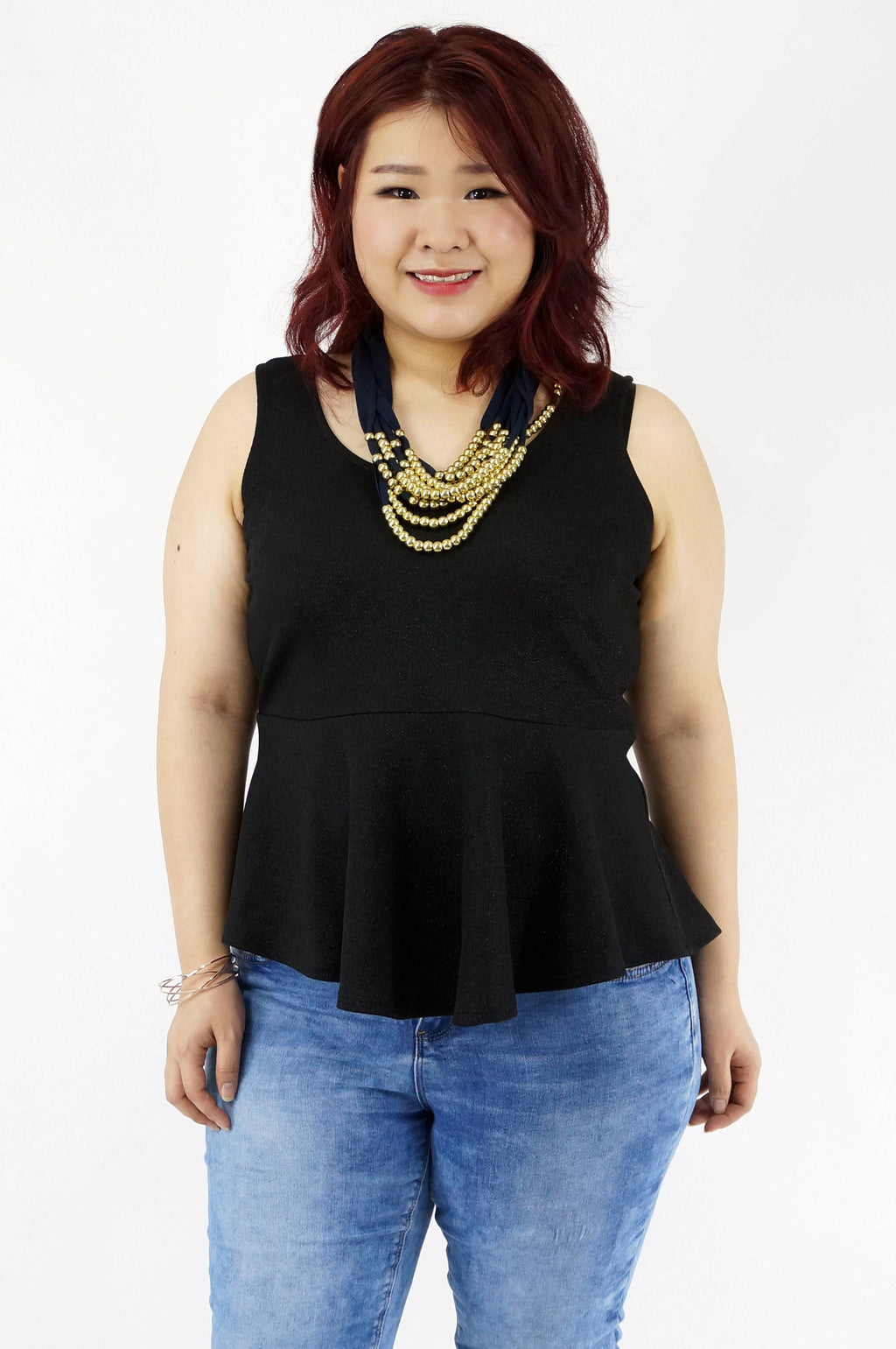 Sleeveless Black Glitter Peplum Top