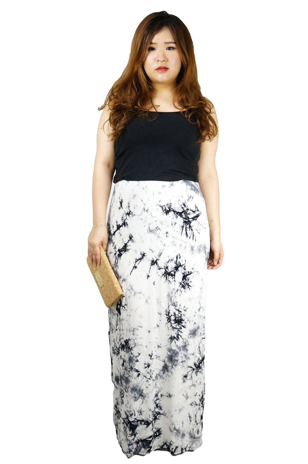 Black White Tie Dye Maxi Skirt