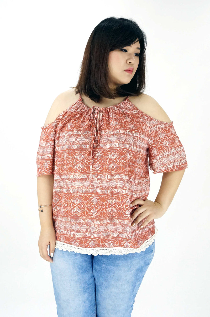 Rust Print Scoop Neck Cold Shoulder Top