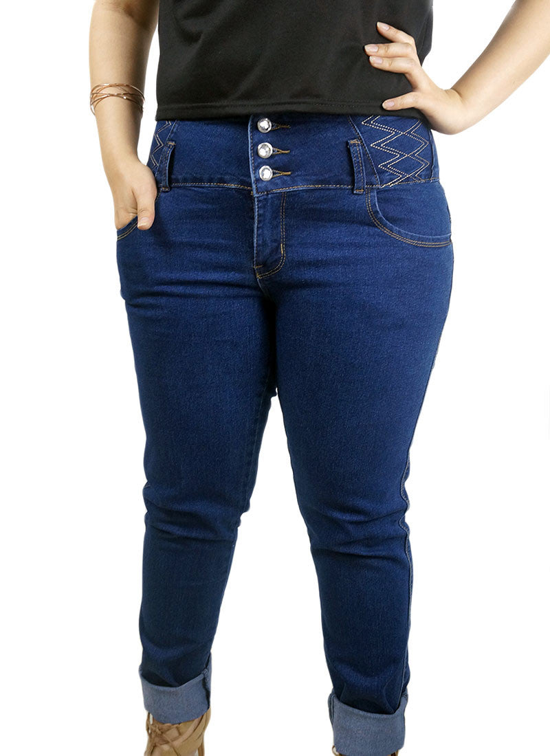 Triple Button Dark Denim Jeans