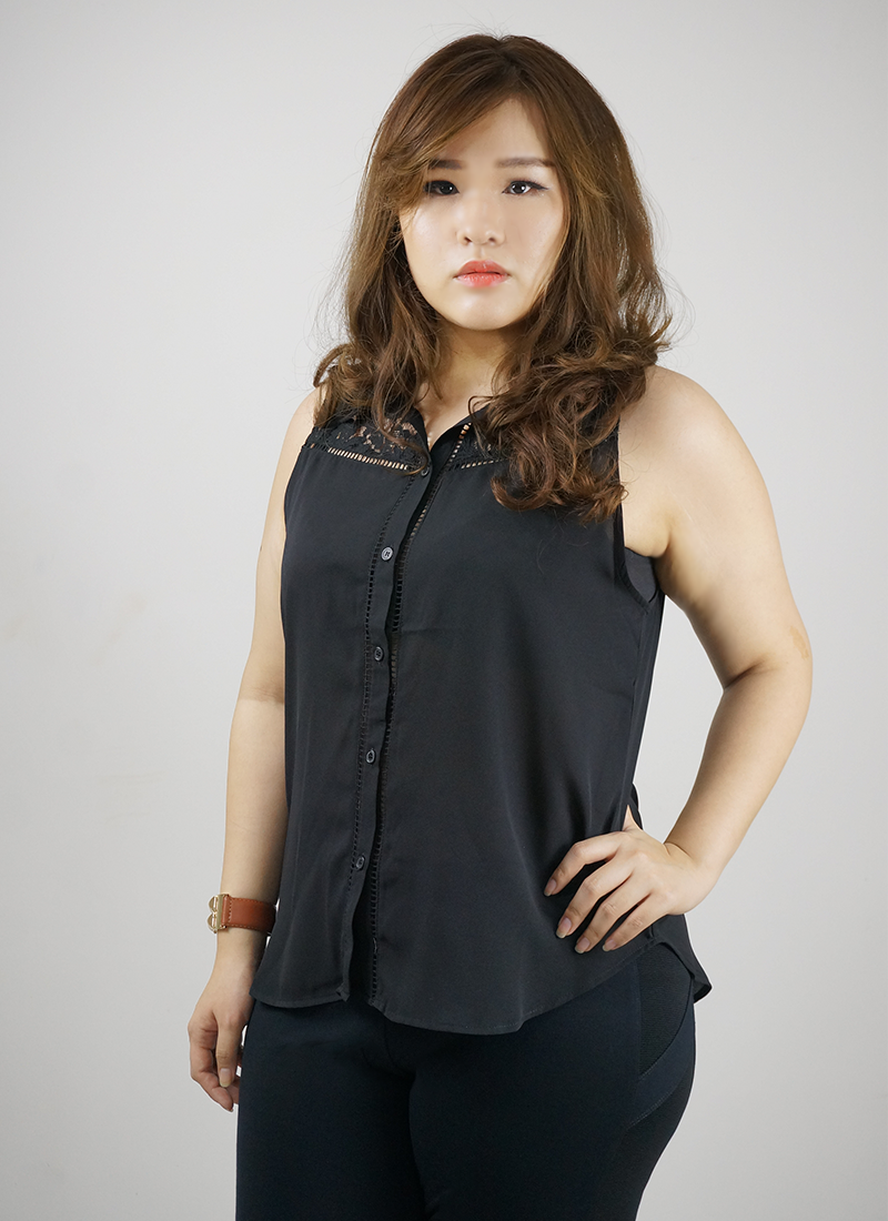 Sleeveless Lace Yolk Top
