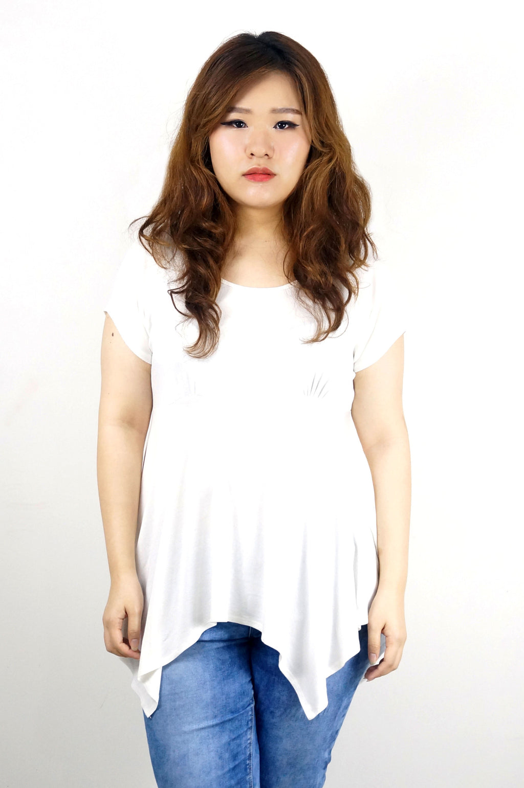 Asymmetric Bottom Jersey White Top