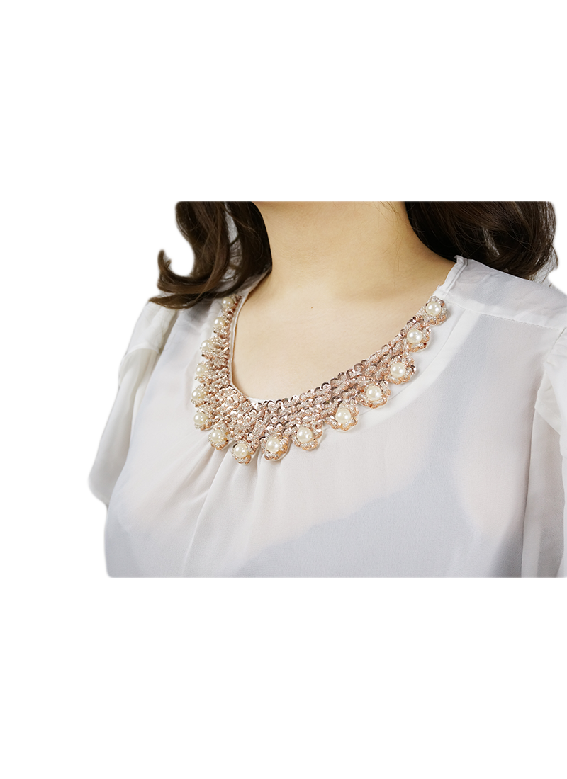Round Neckline With Embellishments Blouse