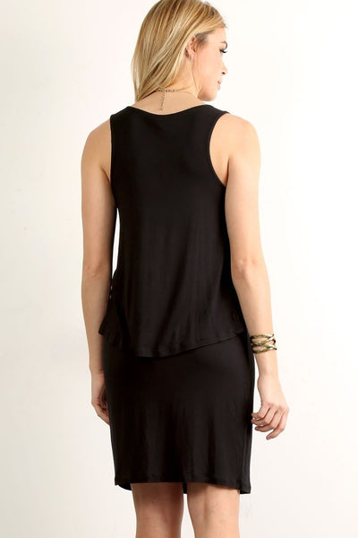 Black Sleeveless Solid Relaxed Layered dress - Serob  - 3