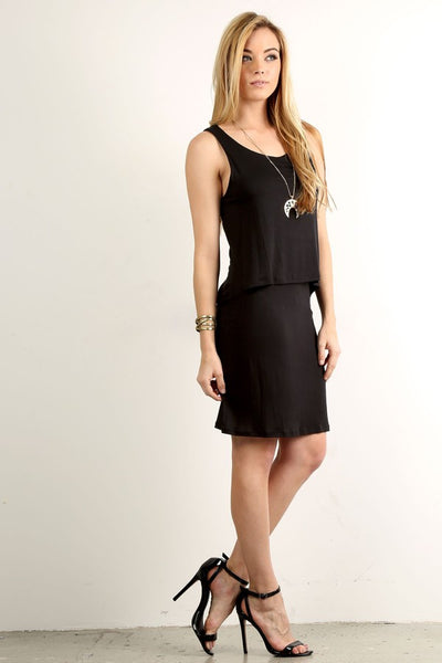 Black Sleeveless Solid Relaxed Layered dress - Serob  - 2