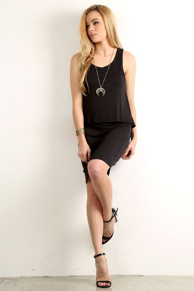 Black Sleeveless Solid Relaxed Layered dress - Serob  - 1