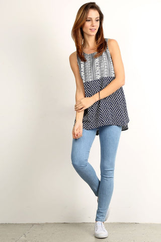 Print Contrast Top With Round Neck - Serob  - 1