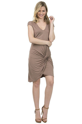Basic Rayon Dress With Knot Detail at Front - Serob  - 1