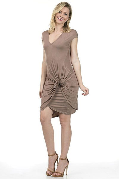 Basic Rayon Dress With Knot Detail at Front - Serob  - 2