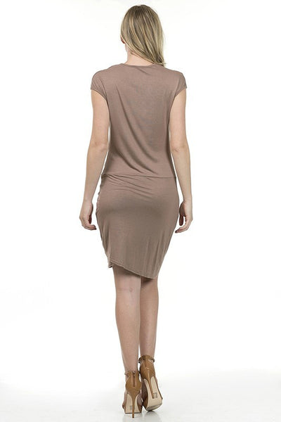 Basic Rayon Dress With Knot Detail at Front - Serob  - 4