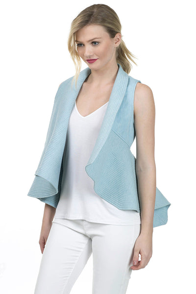 Sleeveless Quilted Denim Flare Vest - Serob  - 2