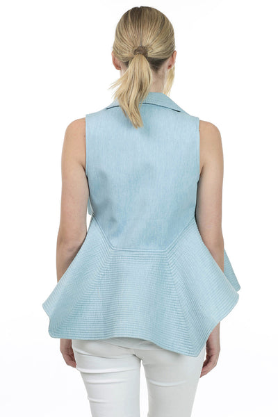 Sleeveless Quilted Denim Flare Vest - Serob  - 4