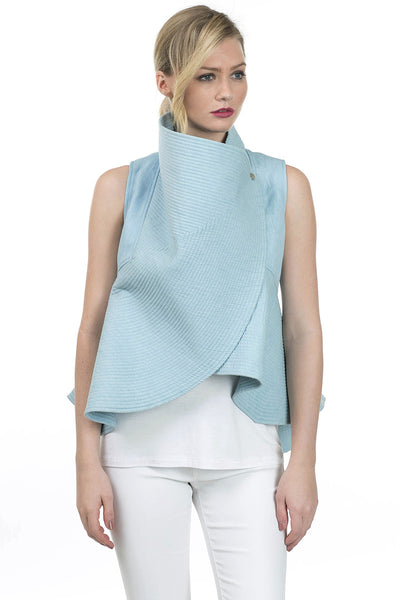 Sleeveless Quilted Denim Flare Vest - Serob  - 5