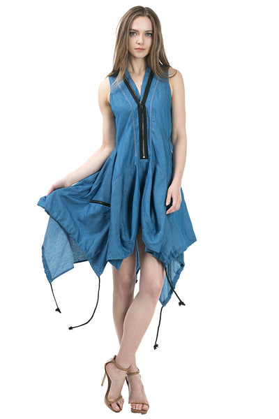 Sleeveless asymmetric hem denim dress - Serob  - 1